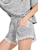 DELIMIRA Femme Bas de Pyjama Court Shorts Vêtements de Nuit en Dentelle Grande...