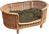 Prestige Wicker Luxury Willow Dog Basket Settee with Cushion, Medium