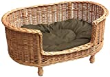 Prestige Wicker Luxury Willow Dog Basket Settee with Cushion, Medium