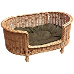 Prestige Wicker Willow Dog Basket Settee with Cushion, Large 51tuqOqg2sL
