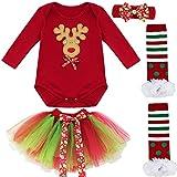 Freebily Conjunto de Navidad para Bebé Niña Pelele Body Falda Plisada Disfraz Vestido de Princesa Fiesta para Recién Nacido Reno 3-6 Meses
