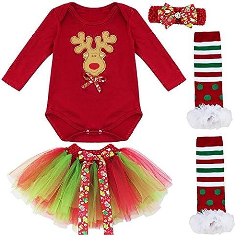 FEESHOW Kinder Bekleidungsset Weihnachten Kostüm Kleid Set Langarm Shirt + Tutu Rock+ Beinwärmer + Haarband Rot Farbe Weihnachtsmann Druck 0-9 Monate Weihnachtshirsch 6-9 Monate