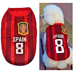 BDM Ropa para Perros Pequeños, Jersey Chaleco Deportes Suave Transpirable del Perros Gatos Cachorros Camisa del Animal Doméstico de Fútbol Copa del Mundo para Verano Al Aire Libre -Spain,M