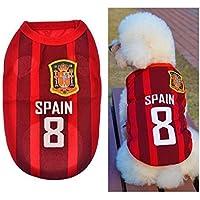 BDM Ropa para Perros Pequeños, Jersey Chaleco Deportes Suave Transpirable del Perros Gatos Cachorros Camisa del Animal Doméstico de Fútbol Copa del Mundo para Verano Al Aire Libre -Spain,S