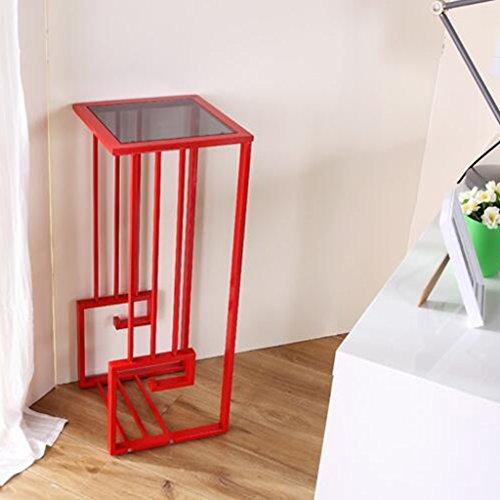 Support de fleur de bois ---- Square Au Sol Blanc / Rouge Verre Trempé + Acier Inoxydable Créativité Support De Fleur En Fer Forgé Table Basse Entrance Tablette Porte-pot 35 * 35 * 87.5 Cm --- Veuillez vous référer à la description ( Couleur : Rouge )