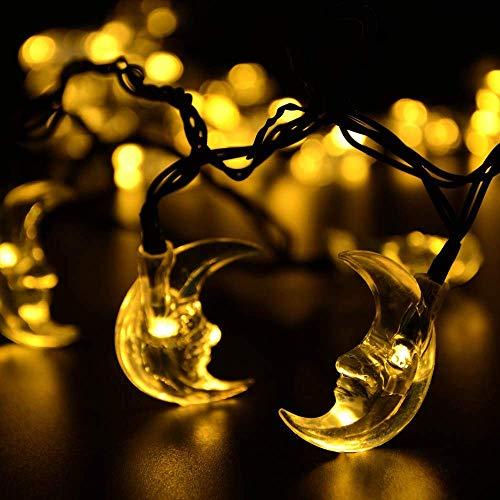 Mond Lichterketten,KINGCOO Wasserdichte 20FT 30LED Mond Solarleuchten Fee Dekorative Nachtlichter für Garten Dachrinne Hofbahn Weg Hochzeitsfest Halloween Weihnachtsbeleuchtung (Warmweiß)
