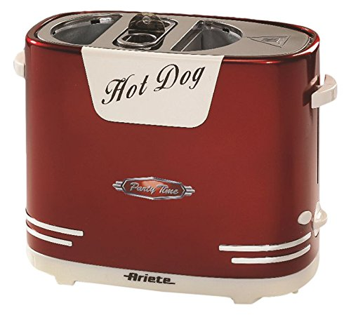Ariete 00C018600AR0 Hot Dog Maker 186 Partytime im Retrostil der 50-er Jahre, 650 W, metallic rot