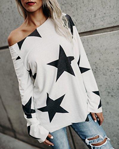 Eforyou Damen Schulterfreie Stern T-shirt Hemd Oberteile Tops Weiß