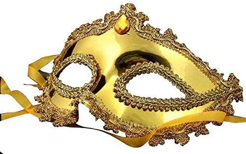 (Inception Pro Infinite Maske - Goldfarbe - Karneval - Halloween - Venetian - Frau - Dekorationen - Stoff - Gelber Stein - Frau)