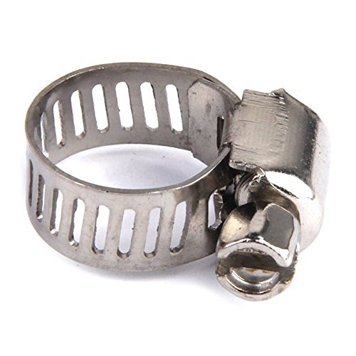 Abrazaderas de tubo - TOOGOO(R) 10 piezas de combustible ajustable abrazaderas de tubo de gasolina de clip de acero de 12 mm de primavera