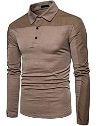 YCHENG Moda Hombre Polo Manga Larga Color Sólido Casual Deporte Camiseta Tops pO2U6yX4Z