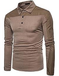 YCHENG Moda Hombre Polo Manga Larga Color Sólido Casual Deporte Camiseta Tops