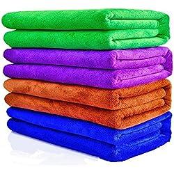 Paños de microfibra,Mocent coche paños de limpieza,pulido, encerado, multiusos, de secado rápido para limpiar coches, motocicletas u hogares(30 x 70 cm, 4 pieza/azul, morado, marrón, verde)