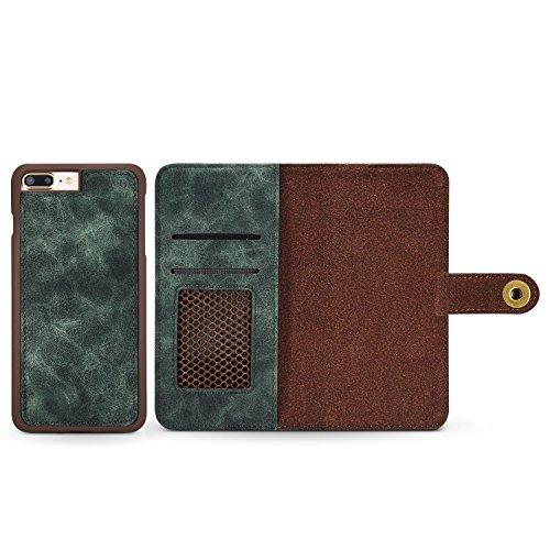 Schutzhülle für Apple iPhone 8 Plus 5.5 Zoll Hülle Brieftasche mit Kartenfächern und abnehmbarer magnetischer Handy Case Grün