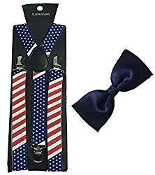 Atyourdoor Star Flag Design Suspender and Blue Satin Bow Tie for Men(Combo Pack)