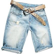efc700a158d1 Valuker Herren Denim Bermuda Jeans Shorts Sommer Kurze Hose Hellblau Ohne  Guertel