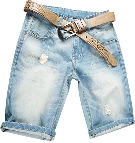 Valuker Herren Denim Bermuda Jeans Shorts Sommer Kurze Hose hellblau Ohne Guertel W42