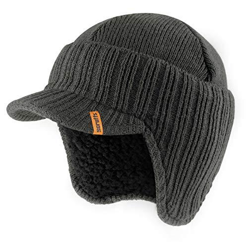 Gorro Peaked Beanie con orejeras negro, aislante, tejido de punto, térmico, para invierno, elegante, de Scruffs gris grafito Talla única
