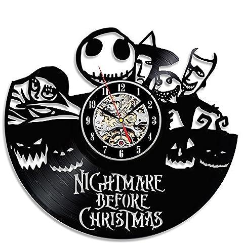Creative Horloge en vinyle noir cadeau cauchemar avant Noël