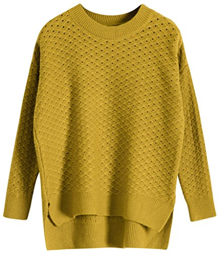 Vogueearth Femme's Longue Manche Crew Neck Knit Hollow Sweater Chandail Tricots Pullover Jaune