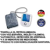 TENSIOMETRO DE BRAZO DIGITAL CON VOZ AUTOMÁTICO DETECTA ARRITMIAS PANTALLA GRANDE CON ILUMINACION HIPERTENSION, TENSION