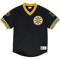 Boston Bruins Mitchell & Ness NHL Men's Mesh V-neck Jersey Maglia Shirt Camicia