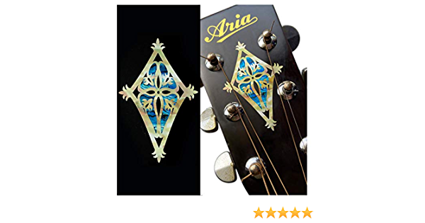 2pcs Set - Abalone Blue Inlaystickers for Guitar Headstock Shield H-117SD-BL