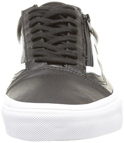 Vans  U OLD SKOOL ZIP LEATHER,  Unisex-Erwachsene Sneaker Schwarz (premium Leather/black)