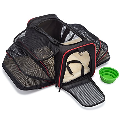 mypal Expandable Soft Pet Carrier Airline Approved Carrier for Easy Carry On Luggage. for Small Dogs Puppies Cats Kittens and More!