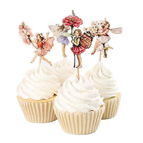 MElnN Nette Cupcake Topper 48pcs Blume Little Girls Cupcake Lebensmittel Picks Topper Papier Cake Topper Geburtstagsparty Kuchen Dekoration