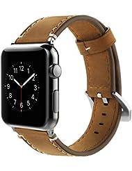 Correa Apple Watch 42mm,Simpeak Banda para apple watch Series 3 / Series 2 / Series 1 Vendimia Cuero correa de reloj banda iwatch Cuero de la alta calidad,Marron
