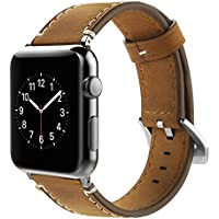 Simpeak Correa para Apple Watch 42mm, Banda para Apple Watch Series 4 / Series 3 / Series 2 / Series 1 Vendimia Cuero Correa de Reloj Banda iwatch Cuero, Marron