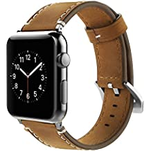 Correa Apple Watch 42mm,Simpeak Banda para apple watch Series 3 / Series 2 / Series 1 Vendimia Cuero correa de reloj banda iwatch Cuero de la alta calidad,Marron