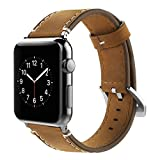 Simpeak Correa Compatible Apple Watch 42mm, Banda para Apple Watch Series 4 / Series 3 / Series 2 / Series 1 Vendimia Cuero Correa de Reloj Banda iWatch Cuero, Marron