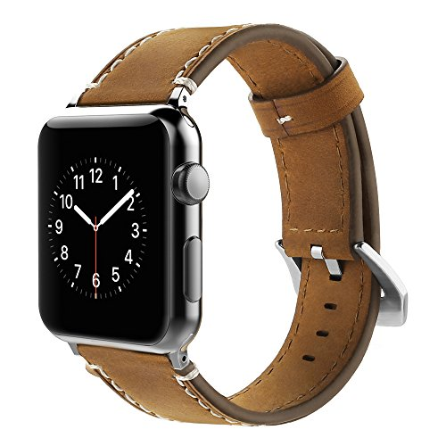 Correa Apple Watch 42mm,Simpeak Banda para Apple Watch Series 2 / Series 1 Vendimia Cuero correa de reloj banda iwatch Cuero de la alta calidad,Marron