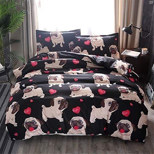 Fcao-Bettwäsche, 300TC Double/King 3PCS 300TC Bettbezug mit Kissenbezug Hund Tiere Cartoon Mops Bettwäsche-Set Bettwäsche Bettbezug Kissenbezüge Tröster Bettwäsche-Sets (Size : UK Double) -
