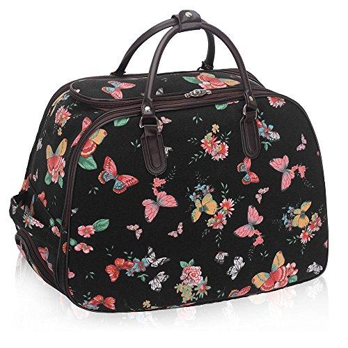 LeahWard® Damen Mode Essener Große Größe Qualität Schmetterling Gepäck Reisetasche Reisetasche Wagen Gepäck mit RadsUrlaubReise Wochenende Taschen (Schwarz) (Taschen Gepäck Qualität)