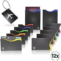 Amazy Protecteur de cartes de crédit RFID NFC/Sans contact (lot de 12) avec étiquette de bagage – Protection contre vol d'identité et données avec codage couleur pour cartes de crédit