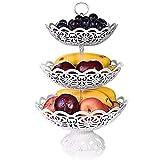 CLTech Etagere Obst, Etagere Obst 3 stöckig für mehr Platz auf der Arbeitsplatte - Törtchen Gebäck Obst Halter für Party, Geburtstag - Weiß - Kunststoff (3 Tier)