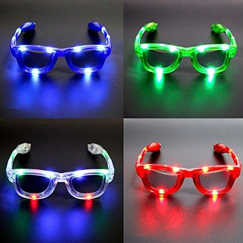 (LED-Brillen für Kinder - Leuchten LED-Brillen, LED-blinkende Sonnenbrillen in 4 verschiedenen Farben Unisex für Erwachsene und Kinder, LED-Sonnenbrillen, blinkende Gläser, Gläser für Party, Geburtstag, Halloween, Weihnachten (4 Farbe))