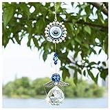Atrapasueños de ángel de Cristal con protección contra el Mal de Ojo Azul Turco Feng Shui y abalorio de Buena Suerte