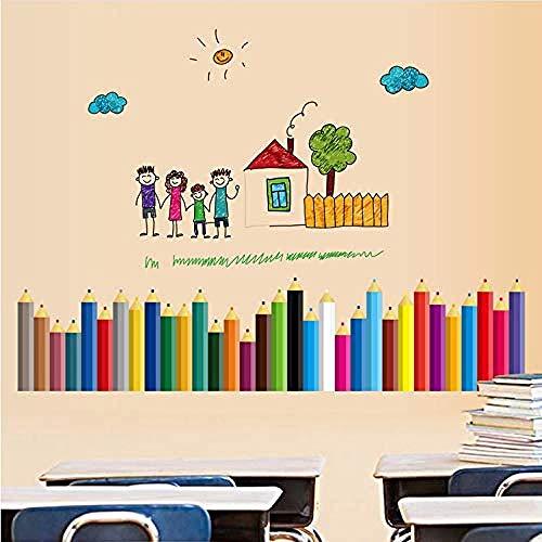 Bbnnn Buntstifte Baseboard Aufkleber Wasserdicht Für Kind Kinderzimmer KlassenzimmerRemovable WandaufkleberDekoration
