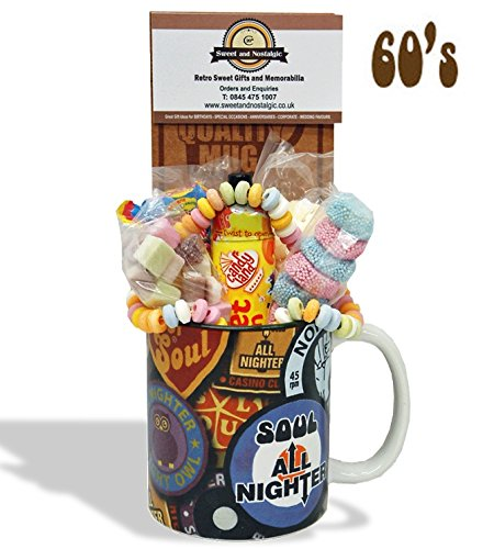 Northern Soul - Badges Mug with Cool Selection of 1960's retro sweets.