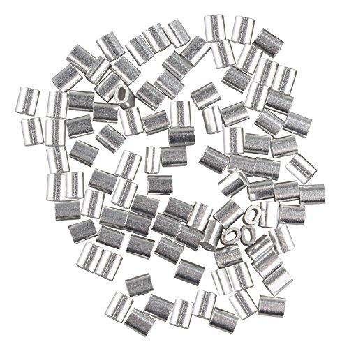 fusd 100PCS Kabel Draht 1,0mm Seil Aluminium Oval geformte Ärmel Clips Crimpen Schlaufen silber...