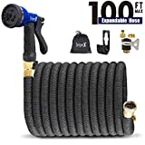 Dripex 100ft Expandable Garden Hose, Flexible Water Hose with Double Latex Core, Solid