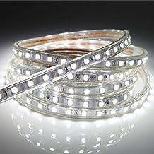 Tiras LED 3M con Interruptor, Tiras de Led Alta Luminosidad 220V IP65 Impermeable, Blanco