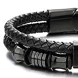Doppel-Lap Schwarz Geflochtenem Lederarmband Herren Armband Leder Schweißband mit Schwarz Edelstahl Verschluss - 4
