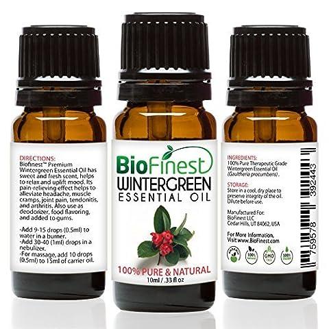 biofinest Wintergreen Öl–100% Pure Wintergreen Öl–Premium Bio–Therapeutische Grade–Aromatherapie–Boost Verdauung–Stärken Muscle–GRATIS (Alimenti Olio Di Menta Piperita)