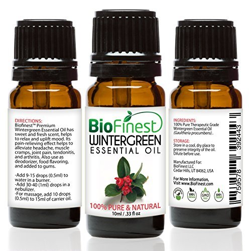 biofinest Wintergreen Öl–100% Pure Wintergreen Öl–Premium Bio–Therapeutische Grade–Aromatherapie–Boost Verdauung–Stärken Muscle–GRATIS E-Book (Schaumbad Bio-kamille)