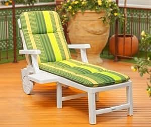 STEINER - Bain de soleil à roulettes pliant BELVÉDÈRE 190 blanc + coussin de lit roulant vert rayé
